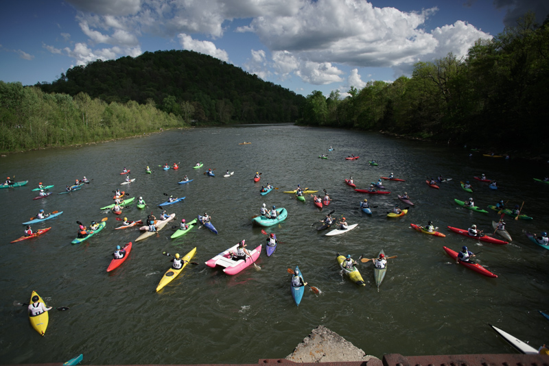 Racers assemble on the Cheat River