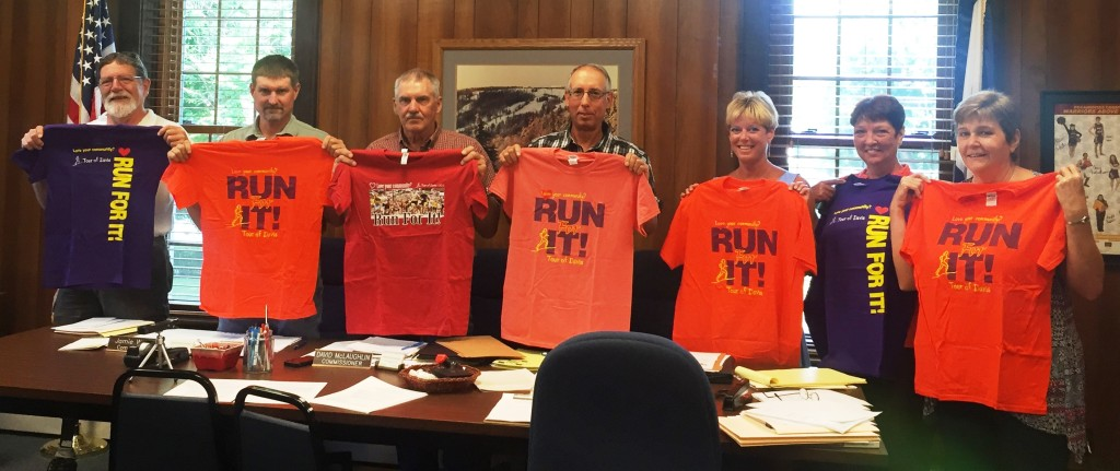 (L-R) David Begg, Pocahontas County Commissioners Jamie Walker, David McLaughlin, and William Beard, Jr.,  Selena Gay, Kim Beverage, and Sue Helton, Administrative Assistant